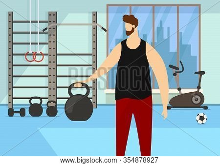 Athletic Bearded Faceless Man Character Practicing Exercise With Dumbbell In Gym With Sporty Accesso