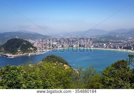 View From Mount Igueldo To Mount Urgull And Santa Clara Island Of The Bay Of Biscay, San Sebastian,