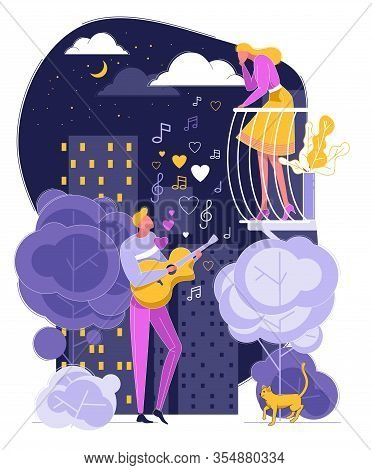 Man Play Guitar Sing Song To Woman On Balcony Vector Illustration. Male Guitarist Serenade At Moonli
