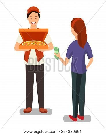 Pizza Delivery Man And Customer Flat Characters. Woman Buying Cooked Food In Bakery. Customer Paying