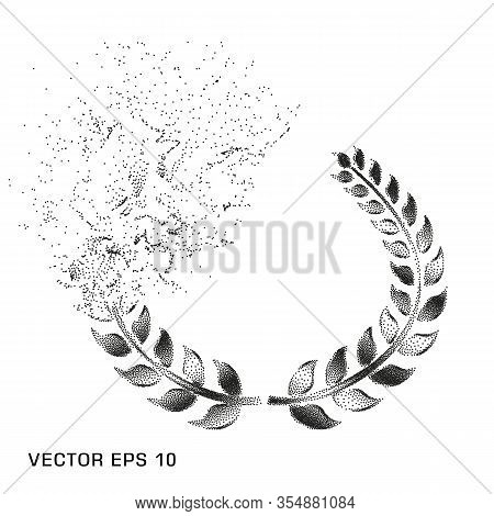 Monochrome Laurel Wreath Disappears, Dissolves, Dotted, A Symbol Of Victory, Triumph. Vector Element
