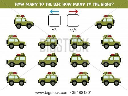 How Many Cars Go To The Left And How Many Go To The Right. Logical And Counting Game For Kids.