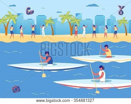 Kayak Sprint Game Race Competition. Cartoon People Paddling Canoe With Oar, Fan Watch Event On Shore