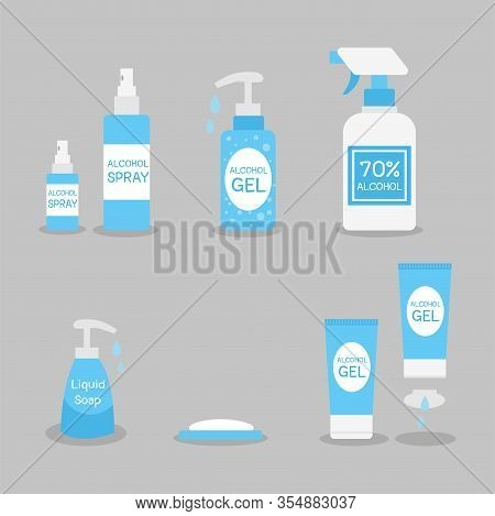 Set Of Alcohol Gel, Alcohol Spray, Soap, Liquid Soap. Kill Virus By Wash Hand And Spray Hand.medical