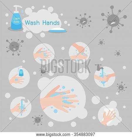 Wash Hands With Soap And Liquid Soap Kill Virus And Protect. Medical Health Care Concept,