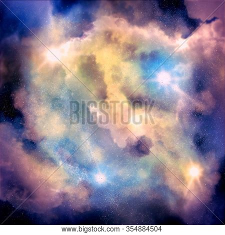 Universe Filled With Stars. Abstract Nebula Or Galaxy. Astronomy Conceptual Background