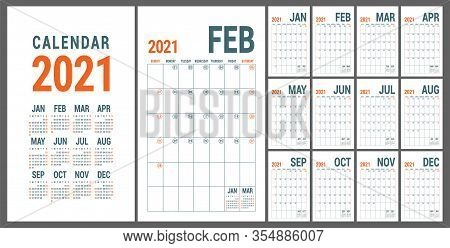 Calendar 2021. English Calender Template. Vector Grid. Office Business Planning. Creative Design