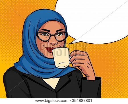 Vector Color Illustration In Pop Art Style. Muslim Woman In A Traditional Scarf And Glasses Is Drink