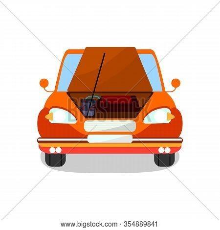 Engine Diagnostics, Repair Vector Illustration. Cartoon Car With Open Bonnet, Hood. Professional Mot