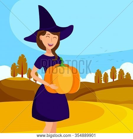 Elegant Witch Laughing Flat Color Illustration. Young Lady In Costume With Hat Cartoon Character. Ch