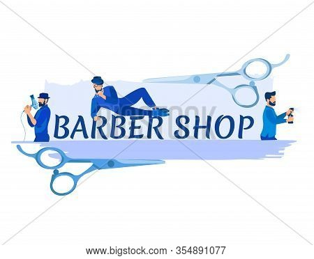 Barber Shop Banner With Scissors And Group Of Hipster Barbers With Haircut Tools In Hands Posing, Me