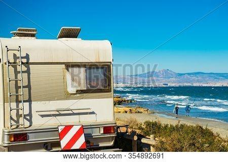 Santa Pola, Spain - February 16, 2019: Camper, Recreational Vehicle On Mediterranean Coast Of Seasid