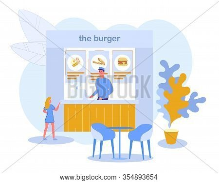 Burger Cafe Or Fast Food Restaurant With Cartoon People Characters Buying And Selling Burgers. Local