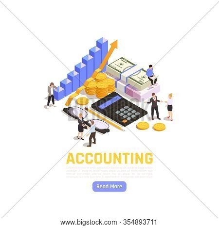 Accounting Isometric Illustration With Business People Auditors And Finance Icons Vector Illustratio