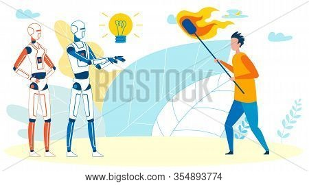 Man Against Technological Progress, Artificial Intelligence. Protester Burning Down Robots With Torc
