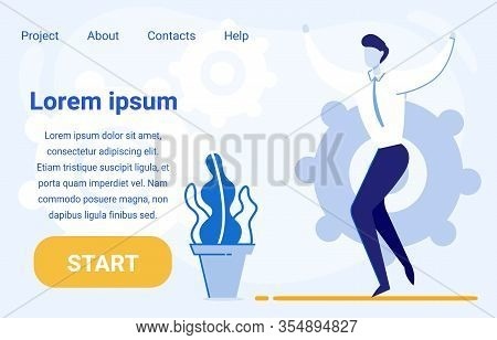 Businessman, Office Employee, Man Cartoon Character Jumping Glad To Find Smart Solution For Business