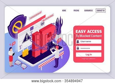 Blocked Web Page Access Internet Censorship Bypassing Isometric Website Design With Chained Ip Addre
