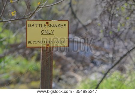 Rattlesnakes Only, Beyond This Point Sign At Boyce Thompson Arboretum State Park, Superior, Arizona