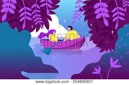 Night Boat Ride And Declaration Love Cartoon. Restoring Relationships For Couples. Quiet Beautiful P