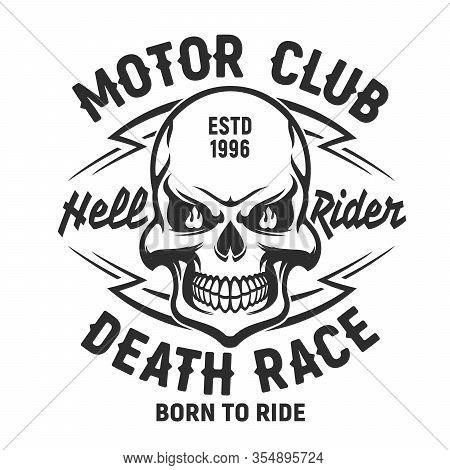 Skull T-shirt Print Mockup, Motor Club Or Bikers Society Emblem, Motorcycle Racers Skull Death Head