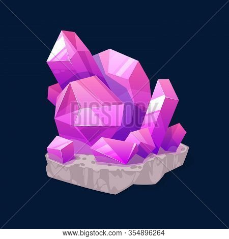 Pink Crystal Rock Gem, Isolated Purple Mineral Crystalline Stone Or Gemstone Sapphire Or Quartz. Jew
