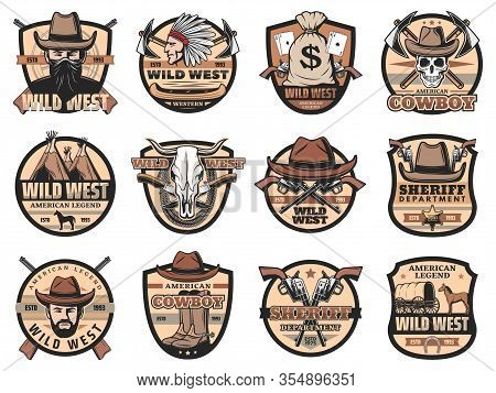 Wild West Vintage Vector Icons Set. Cowboy, Sheriff And Skull, American Western Hat, Guns And Ranger