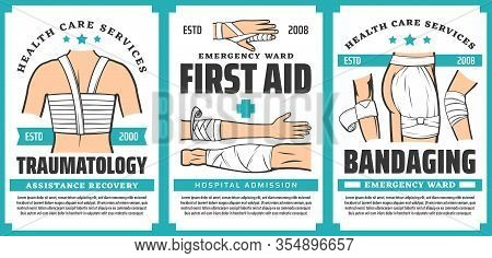 First Aid And Trauma Bandaging Posters. Vector Hospital Admission, Assistance Recovery, Arm, Finger,