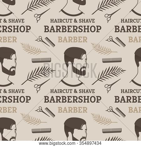 Pattern Haircut And Shave Barbershop Barber For Man. Poster Young Man With Fashionable And Interesti