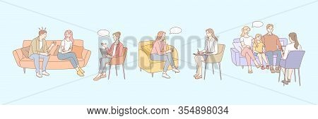 Family Therapy, Psychology, Meeting Session Set Concept. Medicine Services, Psychotherapy Session. M