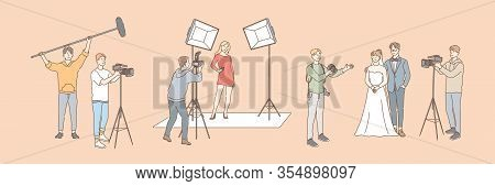 Photography And Shooting, Journalism Set Concept. Collection Of Group Men And Women, Photo And Video