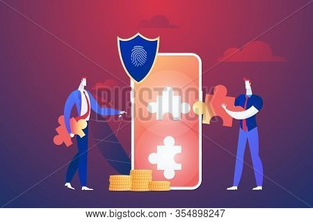 Programmer With Jigsaw Shield System Monitoring Network Traffic. Firewall, Network Security System A