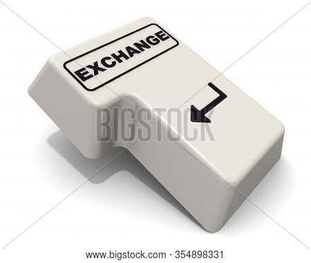 The Enter Key Of Keyboard Labeled Exchange. Computer Enter Key Of Keyboard With Black Word Exchange