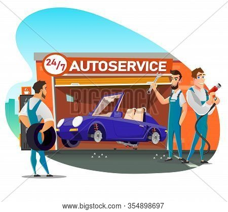 Skilled Male Team Offer Fast Tire Change, Fitting And Repair Service. Round-the-clock Working Automo