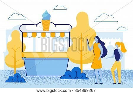 Young Mother With Little Daughter Stand At Stall With Icecream. Happy Family Mom With Child Girl Wal