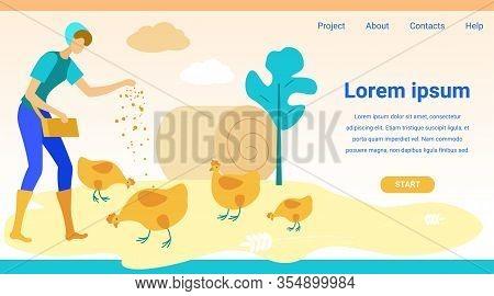 Woman Feeding Chickens. Website Monitor Screen. Vector Illustration. People On Farm. New Technologie