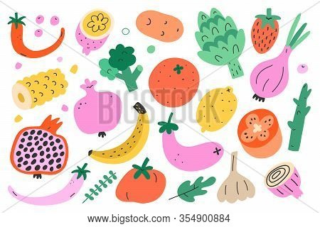 Vegetable And Fruit Bundle, Collection Of Cute Doodle Food Illustration, Isolated Vector Art, Trendy