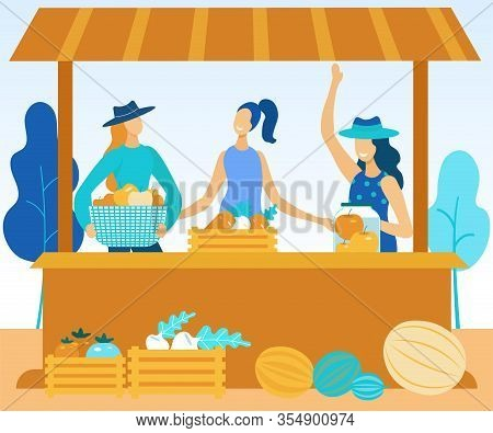 Smiling Women Sell At Farmers Fair Vegetables And Fruits. Vector Illustration. People On Market. Nat