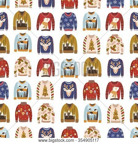 Colorful Comfortable Knitted Winter Ugly Sweaters Seamless Pattern. Different Cozy Woolen Christmas