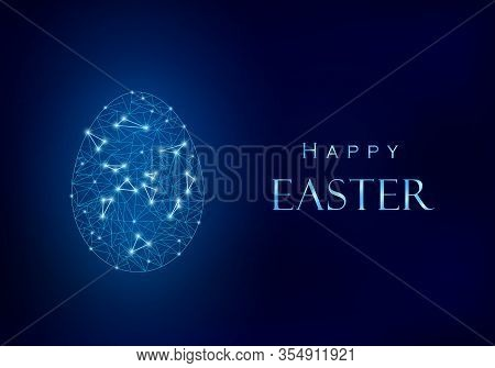 Blue Happy Easter Design. Egg From Polygonal Mesh With Light Points. Next To It Shiny Metallic Effec