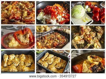 Collage From Photography Of Meal With Chicken Meat. The Tasty Dinner With Dietetic Meat Of The Hen.