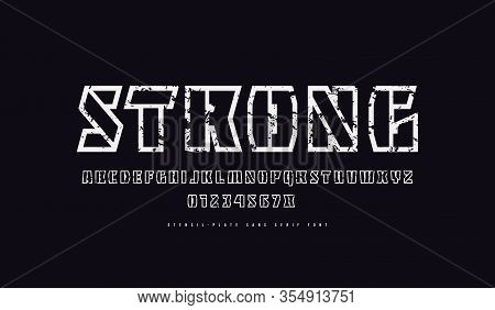 Hollow Stencil-plate Sans Serif Font. Letters And Numbers With Rough Texture For Military And Sport
