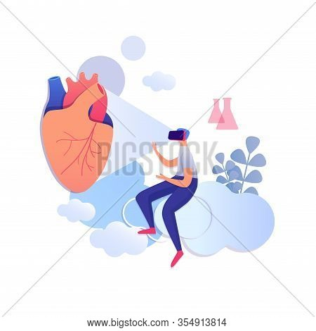 Doctor Cardiologist Examining Digital Heart Wearing Virtual Reality Glasses Sitting On Cloud Isolate