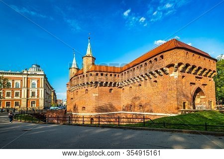 The Krakow Barbican, A Fortified Outpost Of The City Walls. The Historic Center Of Krakow Town, Pola