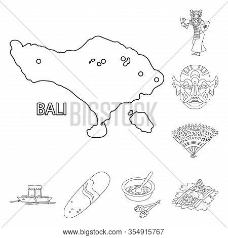 Vector Design Of Balinese And Caribbean Sign. Collection Of Balinese And Geography Stock Symbol For