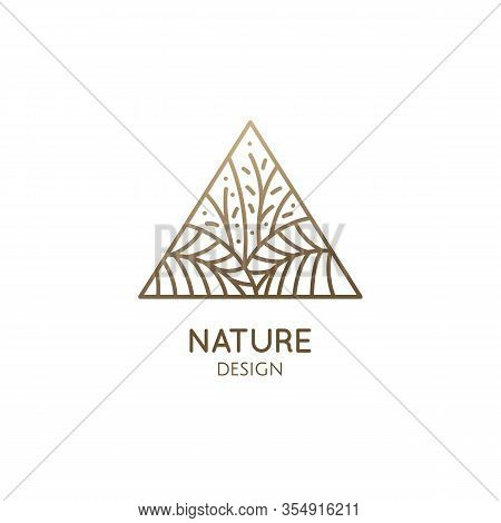 Tropical Plant Logo. Triangular Emblem Flower In Linear Style. Vector Abstract Badge For Design Of N