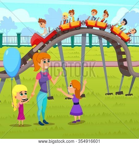 Bright Poster Children Attractions Cartoon Flat. Park Has Attractions That Attract People An Active