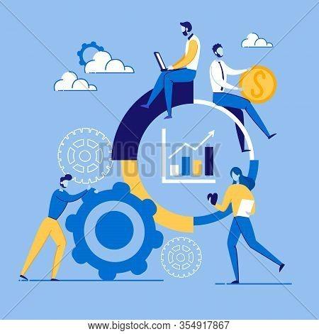 Informational Poster Marketing Setup Cartoon. Strategic Marketing And Competitor Analysis. Man Rolls