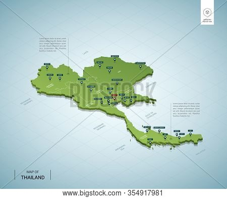 Stylized Map Of Thailand. Isometric 3d Green Map With Cities, Borders, Capital Bangkok, Regions. Vec