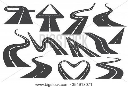 Winding Curved Road Or Highway With Markings. Set Of Different Asphalt Bending Highways Vector Illus