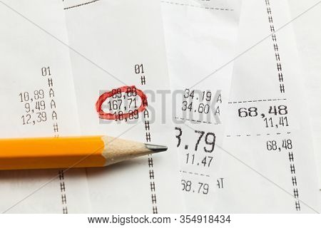 Paper Register Receipts In Stack. Price And Cost In Store (shop).